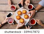 four hands with smart phones... | Shutterstock . vector #339417872