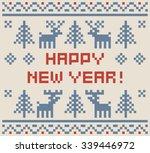 happy new year pixel art winter ... | Shutterstock .eps vector #339446972