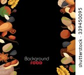 black background with nuts and... | Shutterstock .eps vector #339450095