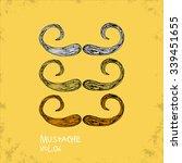 cartoon style mustache... | Shutterstock .eps vector #339451655