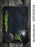 rosemary  salt and pepper on...   Shutterstock . vector #339454316