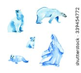 arctic set with polar bears and ... | Shutterstock . vector #339454772