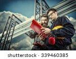 workers with protective helmet... | Shutterstock . vector #339460385