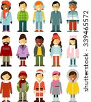 people in winter clothes.... | Shutterstock .eps vector #339465572