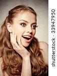 beautiful surprised woman...   Shutterstock . vector #33947950