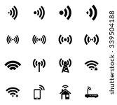 vector black wireless icon set | Shutterstock .eps vector #339504188
