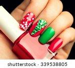 christmas nail art manicure.... | Shutterstock . vector #339538805