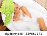 above view of a woman relaxing... | Shutterstock . vector #339563978