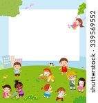 kids playing and frame | Shutterstock .eps vector #339569552