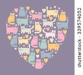 Stock vector the heart of the cats hand drawn funny kittens in love colorful cute animals and hearts pink 339574052