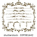 christmas gold frame set vector | Shutterstock .eps vector #339581642