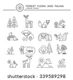 forest flora and fauna. set of... | Shutterstock .eps vector #339589298
