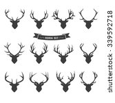 deer horns label set | Shutterstock .eps vector #339592718