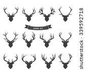 deer horns label set | Shutterstock .eps vector #339592718