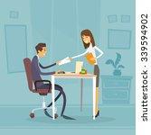 businessman sitting office desk ... | Shutterstock .eps vector #339594902