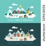 set of winter landscapes.... | Shutterstock .eps vector #339618356