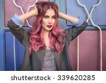 beautiful hipster fashion model ... | Shutterstock . vector #339620285