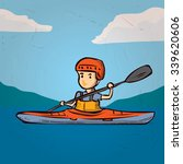 a young man in a kayak. hand... | Shutterstock .eps vector #339620606