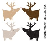 set of four cute reindeers with ... | Shutterstock .eps vector #339632555