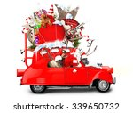 santa claus with reindeer in a... | Shutterstock . vector #339650732