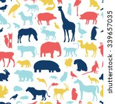 Stock vector animals silhouette seamless pattern 339657035