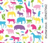 Stock vector animals silhouette seamless pattern 339657062