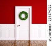 christmas wreath on the white...   Shutterstock . vector #339674732