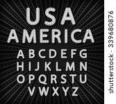 abc set retro neon sign ... | Shutterstock . vector #339680876