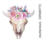 watercolor bohemian bull skull. ... | Shutterstock . vector #339685772