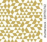 Geometric vector pattern with white and golden triangles. Seamless abstract background | Shutterstock vector #339701762