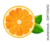 Orange Slice With Leaves...