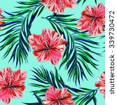 tropical flowers  palm leaves ... | Shutterstock .eps vector #339730472