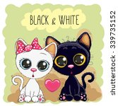 Two Cute Cartoon Cats Black An...