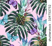 pineapples  tropical jungle... | Shutterstock .eps vector #339753752