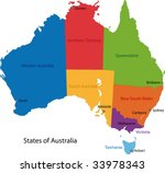 Colorful Australia Map With...