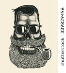 Skull Hipster With Mustache ...