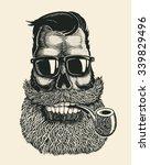 skull hipster with mustache ... | Shutterstock .eps vector #339829496