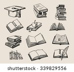vector hand drawn books stack... | Shutterstock .eps vector #339829556