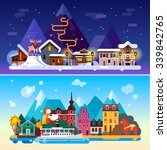 beautiful sweden day and night... | Shutterstock .eps vector #339842765