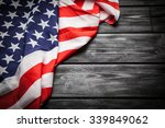 Flag Of Usa On Dark Wood...