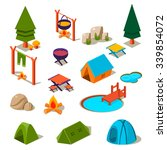 isometric 3d forest camping... | Shutterstock .eps vector #339854072