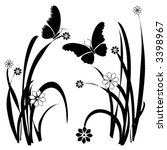 vector butterfly floral...