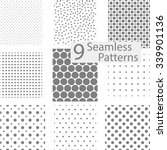 set of 9 seamless dotted... | Shutterstock .eps vector #339901136