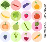 set of fresh healthy vegetables ... | Shutterstock .eps vector #339920732