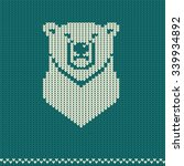 knitted pattern with polar bear   Shutterstock .eps vector #339934892