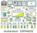 linear workplace icons... | Shutterstock .eps vector #339946052