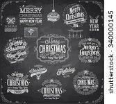 set of christmas emblems  ... | Shutterstock .eps vector #340000145