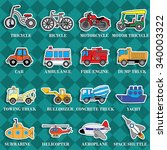 cute vehicle types in sticker... | Shutterstock .eps vector #340003322