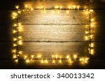 garland lights wood frame ... | Shutterstock . vector #340013342