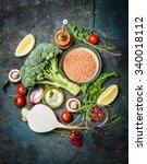 fresh vegetables and...   Shutterstock . vector #340018112